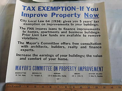 1936 New York City Nyc Real Estate Tax Poster 12X14