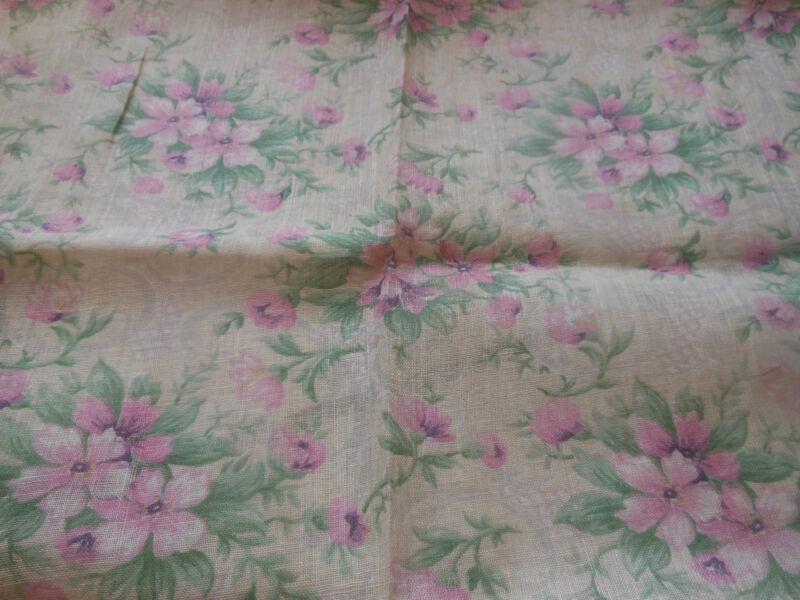 Antique Edwardian Light Blossom Floral Lawn Cotton Fabric ~ Orchid Pink Lavender