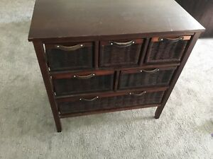 Wicker drawer storage table front hall