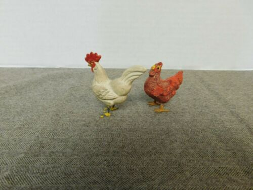 2 Vintage Composition Chickens / Roosters With Metal Feet