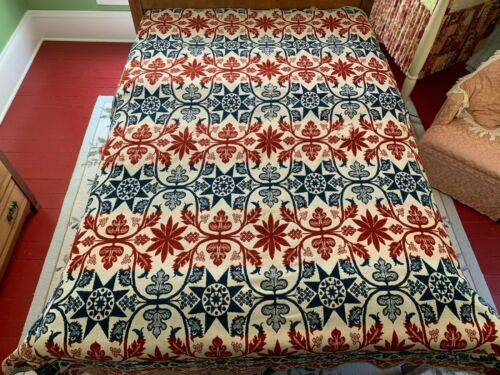 Beautiful Antique Red & Blue Jacquard Reversible Coverlet dated 1860 Vibrant!