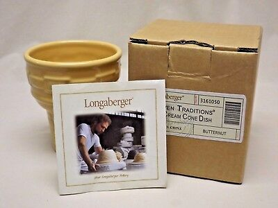 Longaberger Pottery Butternut Woven Traditions Ice Cream Cone Dish N.I.B.