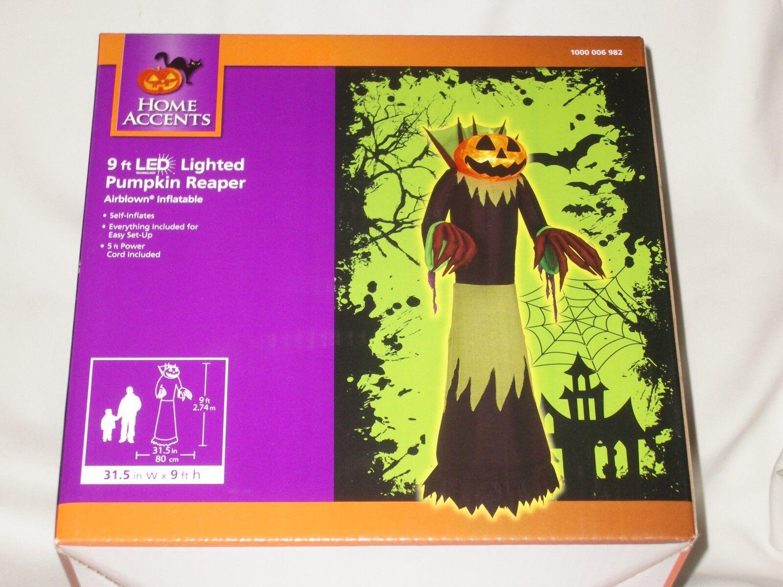 Gemmy 9' Lighted Haunted Pumpkin Reaper Halloween Airblown Inflatable Blowup