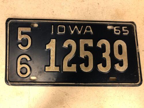 1965 IOWA Lee County License Plate 56-12539