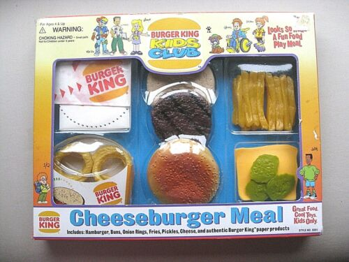 BURGER KING MEAL BOXED SET REALISTIC FAKE FAUX  PLAY FOOD PROP ~ NEW SEALED 1995
