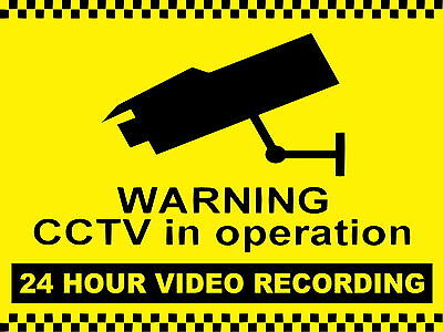 CCTV in operation metal Aluminium Work / Site / Safety Sign 24 hour Recording