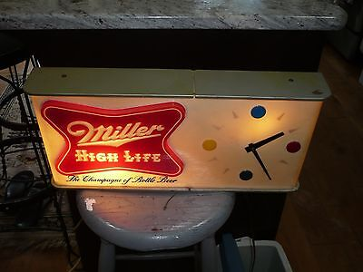 Vintage ~ 1957 Miller High Life Beer Shark Fin Dot Clock Lighted Sign - Working