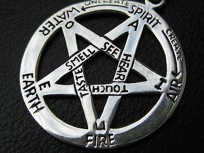 Pentagramm mit Bedeutung 925'er Silber Anhänger + Echtlederband Gothic / KA 251