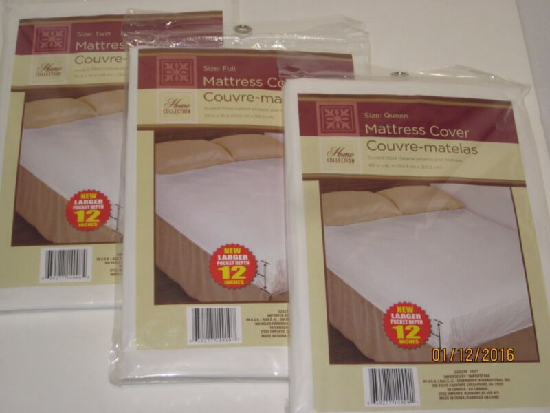 ***Fitted Plastic Mattress Protector*** Lightweight Cover Twin Full or Queen