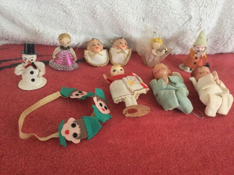 Lot x10 Vintage Japan Christmas Ornament Gnomes, Pixies, Delta Angels Snowman +