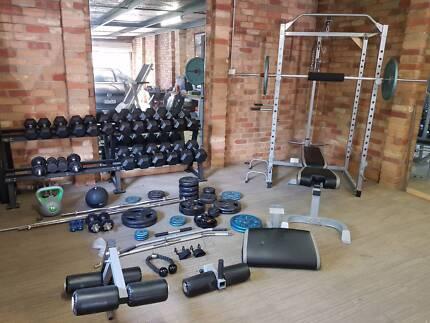 Gym Dumbbell set, Squat rack & more