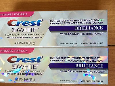 (2) Two Crest 3D White Brilliance Fluoride Toothpaste Vibrant Peppermint 4.1 OZ