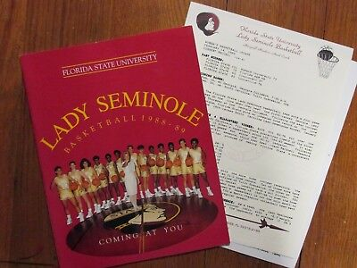 1988 Florida St. Women's Basketball Guide(18 Signed(MARYNELL MEADORS/BEV BURNETT
