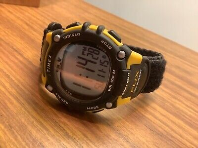 timex ironman triathlon mens watch chronograph 100 lap new battery yellow