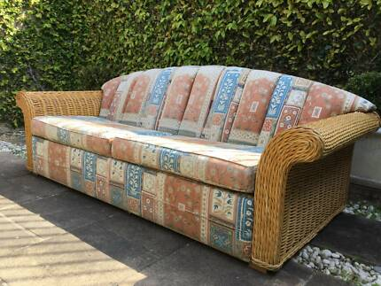 Beautiful Solid Cane Upholstered Sofa-2 Available-Can Deliver