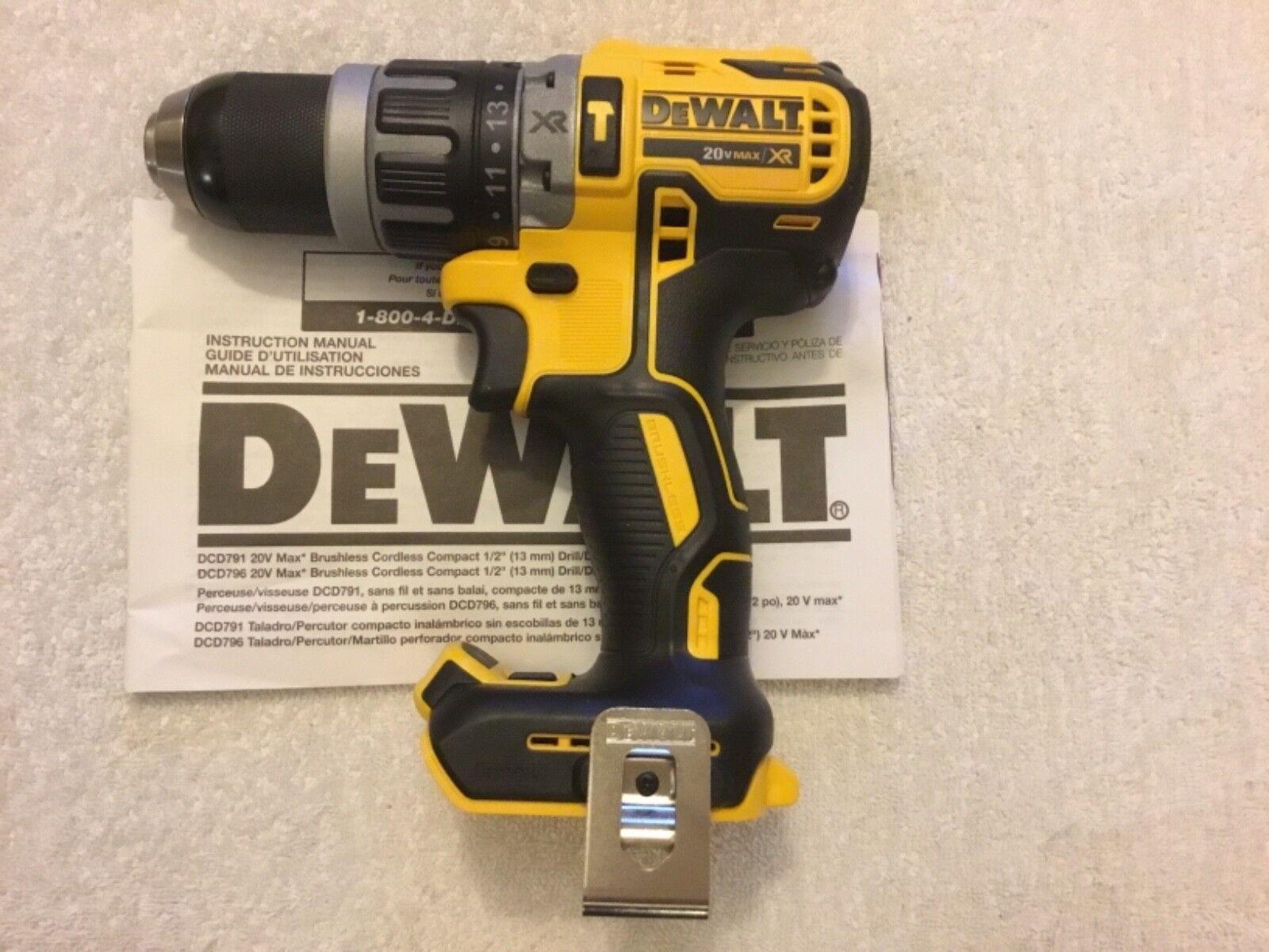 """New Dewalt DCD796B 20V 20 Volt Max XR 1/2"""" Brushless Hammer"""