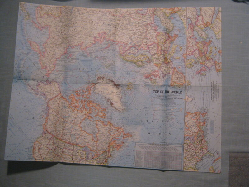 VINTAGE TOP OF THE WORLD ARCTIC MAP National Geographic November 1965 MINT