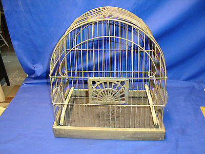 Vintage WIRE BIRD CAGE CROWN ART DECO  with 2 Glass Feeders FREE SHIPPING