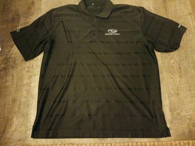 Subaru hawaii wrx exclusive Golf antigua Polo Shirt sz Large black-striped rare