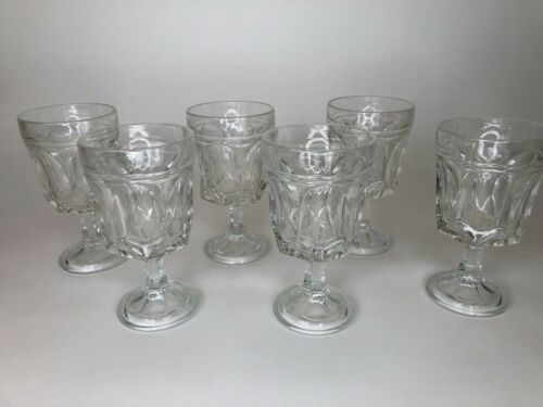 Clear Indiana glass thumbprint set of 6 goblets