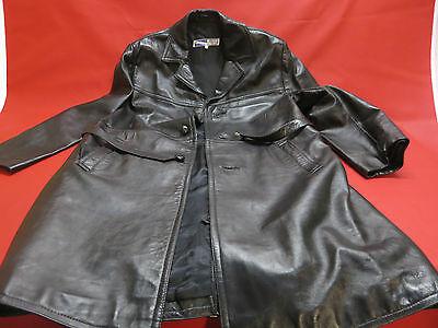 Vintage Mode 60/70er Jahre Ledermantel schwarz