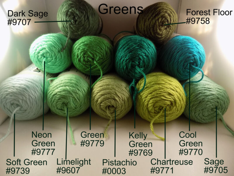 Green #9779 Kelly #9769 Cool 9770 Sage #9705 Limelight #9607 Pistachio #0003 Chartreuse #9771