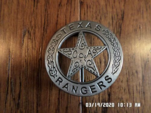 """TEXAS RANGERS NOVELTY BADGE OLD WEST SILVER STAR PINBACK MINIATURE 1 5/8"""""""
