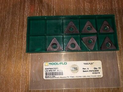 Tool Flo Carbide Inserts L53 8rd Int Ac50d Qty 7
