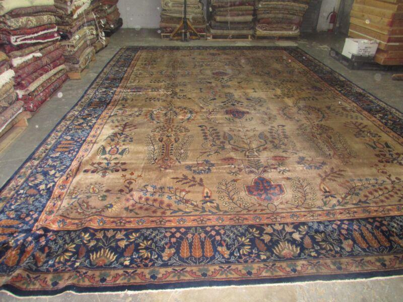 Antique Distressed  Indo Tabriz Larestan Rug Hand Knotted Wool 11