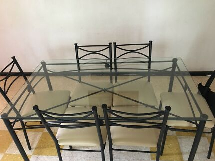 Dining table and chairs - Iron and Glass top