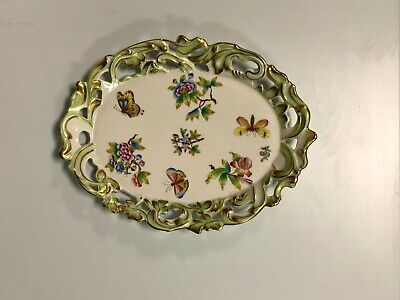 Antique Herend Hungary Queen Victoria Oval Serving Platter Hand Painted