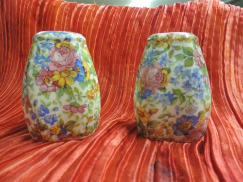 Vintage Porcelain Salt Pepper Shaker Set Czechoslovakia Floral Chintz Beautiful