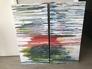 Original acrylic painting. Two panels ea  2' x 4'
