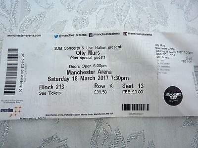 Olly Murs used concert ticket for Saturday 18th Mar 2017 at Manchester ARENA