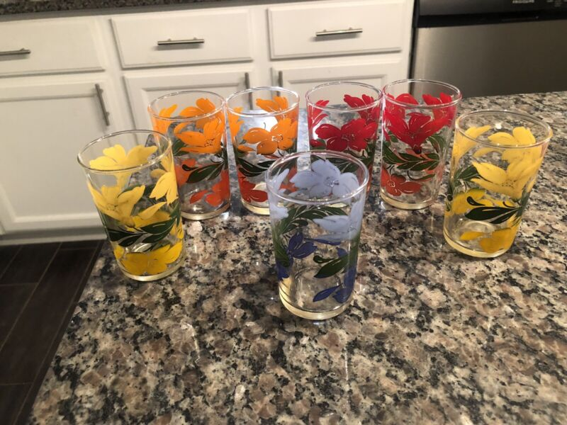 7 Vintage Mid-century Anchor Hocking Flower Juice Glasses Mixed Colors