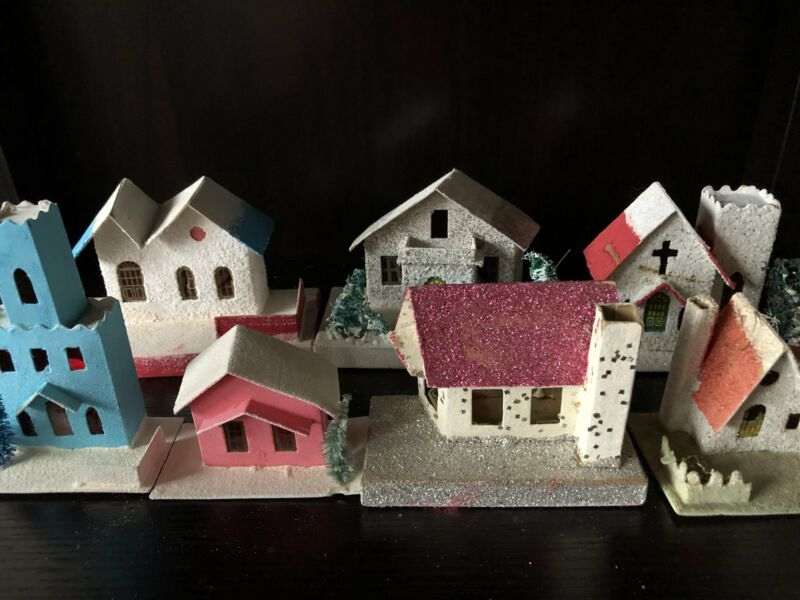 Vintage Putz Houses-Lot of Seven (Free Shipping!)