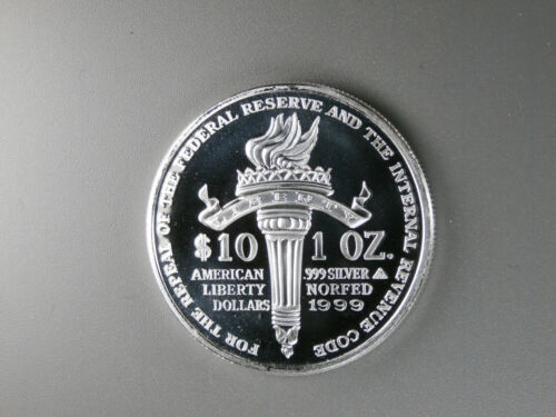 NORFED SCARCE 1999 LIBERTY 10$ PROOF PURE SILVER 1 ounce round  A3