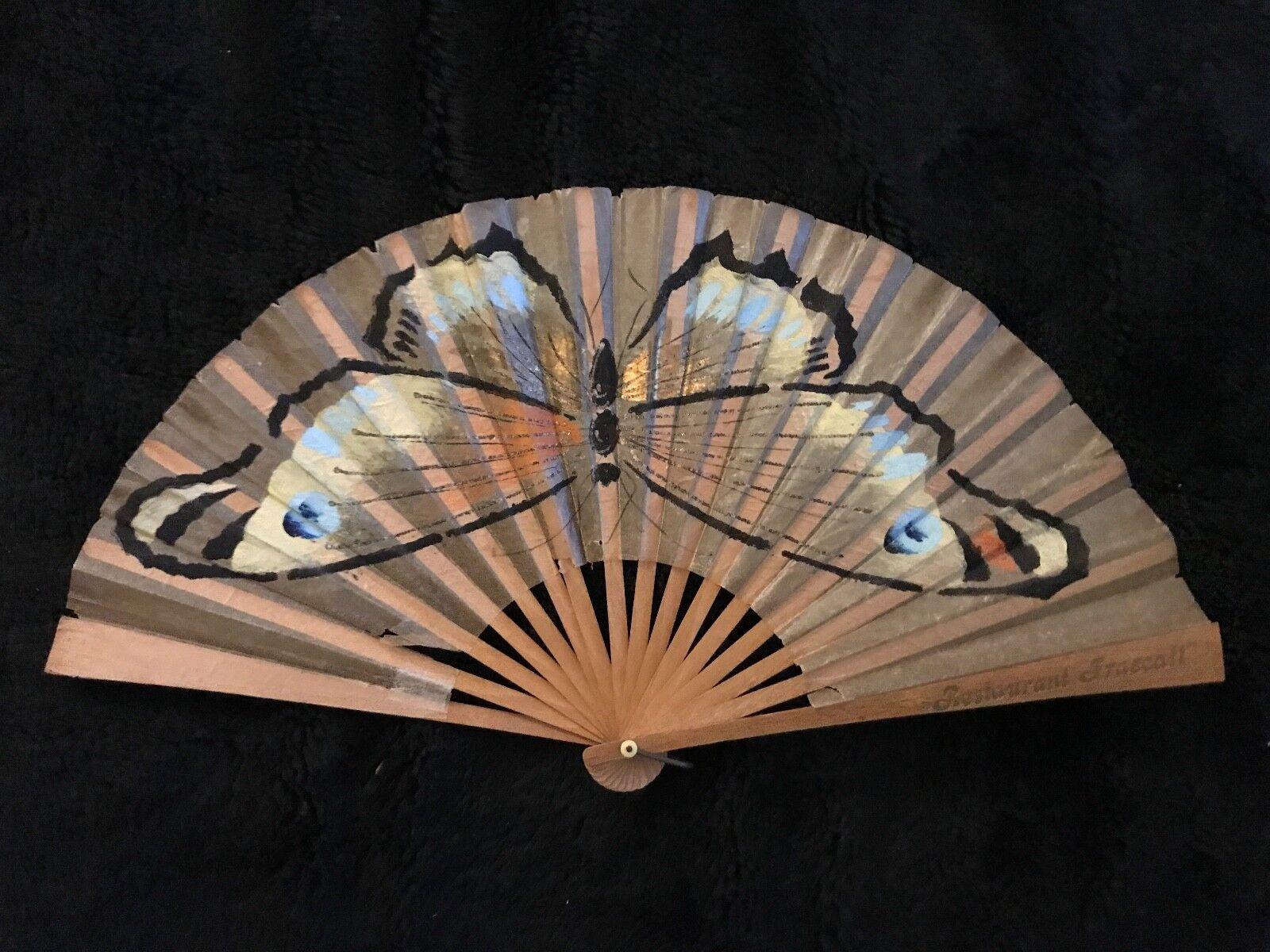 Eventail publicitaire restaurant frascati avec papillon