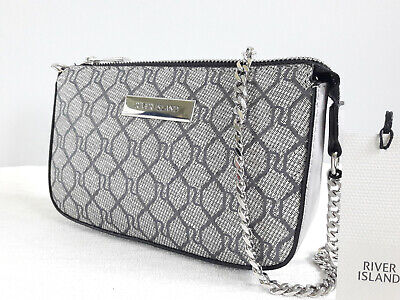 RIVER ISLAND Grey RI Print Chain Mini Shoulder Bag BNWT