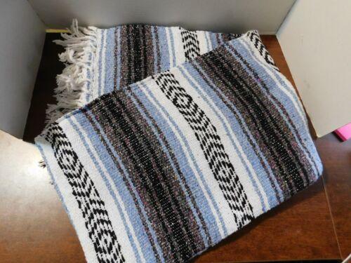 "Rustic BLUE & GREYISH  Mexican Falsa Blanket Southwestern Indian Style 76"" x 54"""