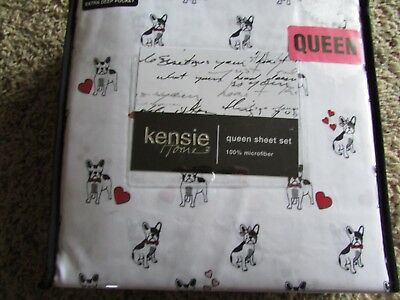 NEW QUEEN SIZE SHEETS DOG PUPPY FRENCH BULLDOG BOSTON TERRIER PRINT DOG PRINT