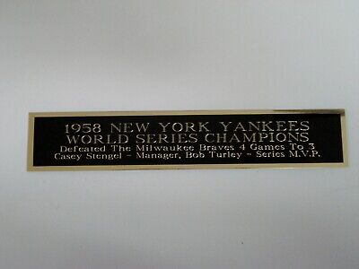 1958 New York Yankees World Series Nameplate For A Baseball Bat Case 1.5 X 8