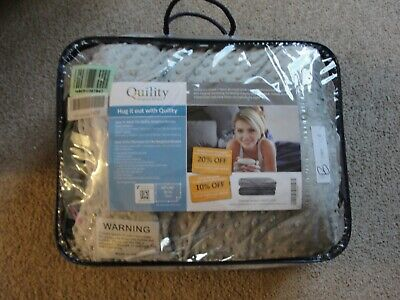 """Quility Premium Adult Weighted Blanket & Removable Cover 20lbs 60"""" x 80"""" Grey"""