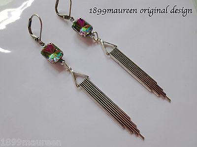 Art Deco Art Nouveau earrings vintage crystal vitrail drop LONG