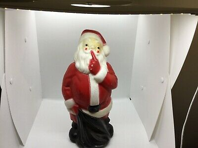 "VTG 1971 Empire Plastic Blow Mold 13"" Santa Holiday Christmas Lighted ""Shhhh"""