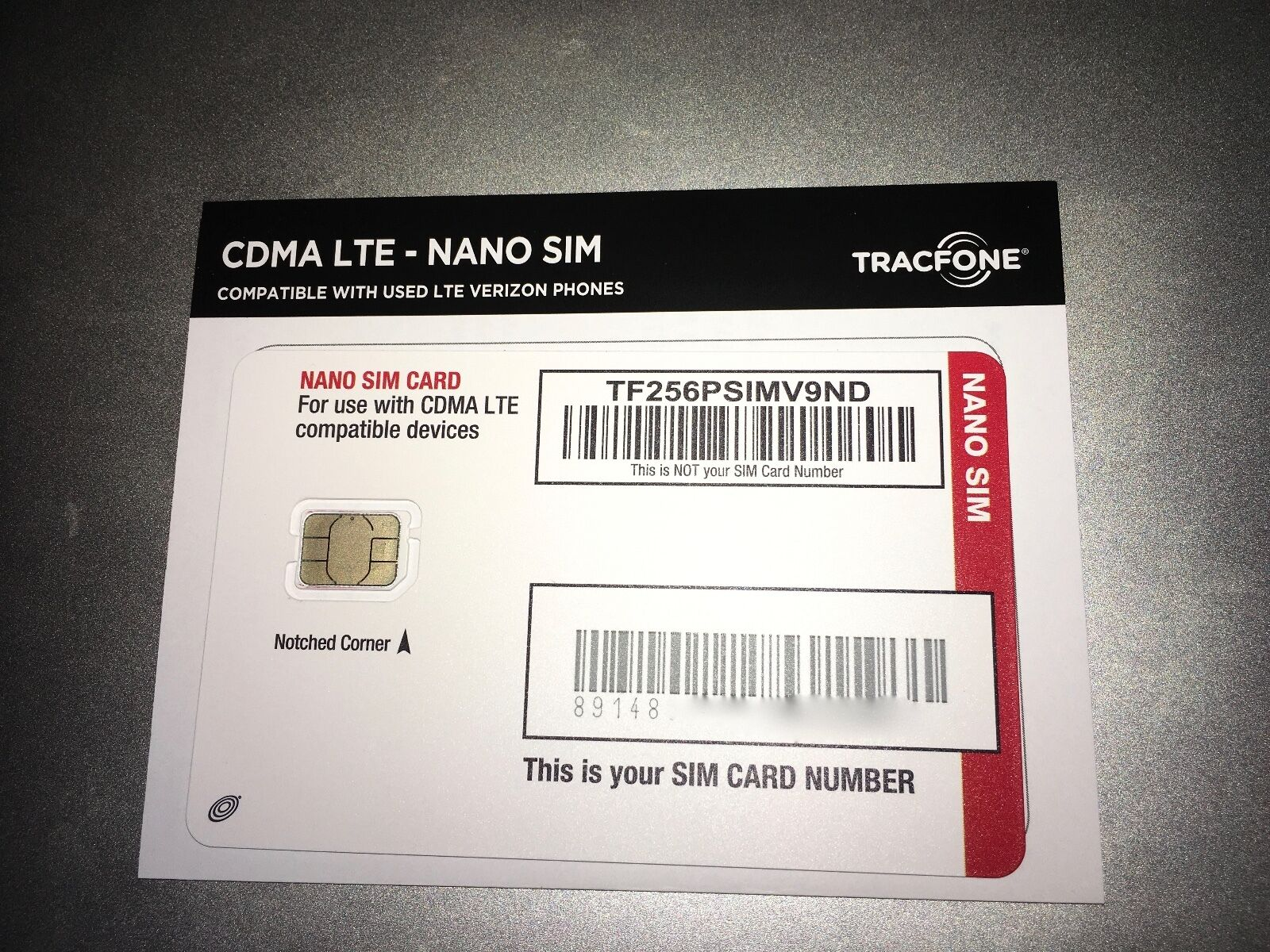 Tracfone on Verizon 4G LTE Nano SIM Card UCCID CDMA *Old SIM