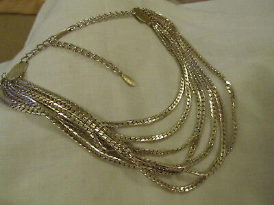 Light Yellow Gold Tone 7 Row Flat Link Necklace - 20