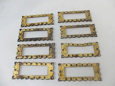 Antique Brass Index Card Holder Drawer Hardware Sign Church 1860's Victorian x8
