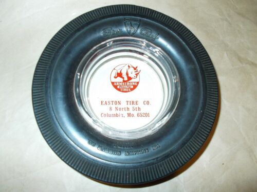 VINTAGE ARMSTRONG MIRACLE SD RHINO FLEX TIRE ASHTRAY WITH GLASS INSERT