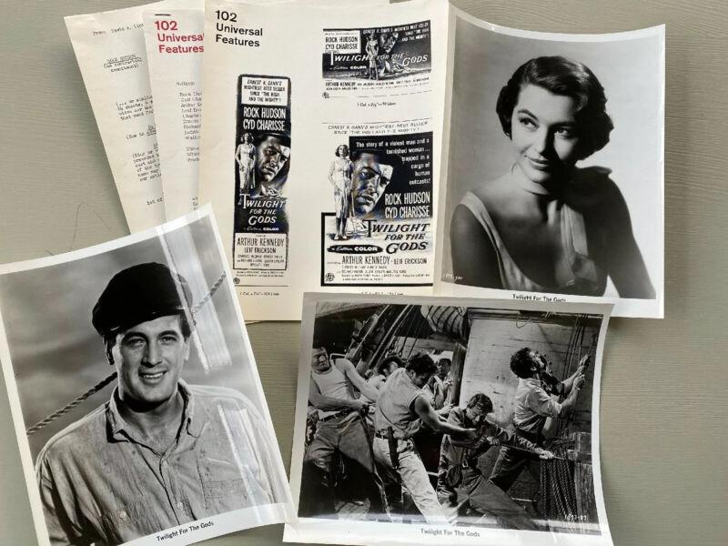 VTG TWILIGHT FOR THE GODS Movie Promo Press Kit Photos Newspaper Ads Rock Hudson